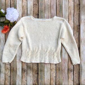 Vintage cream rope weave crop long sleeve sweater